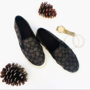 Coach Canvas Monogram Black Slip On Sneakers 8.5
